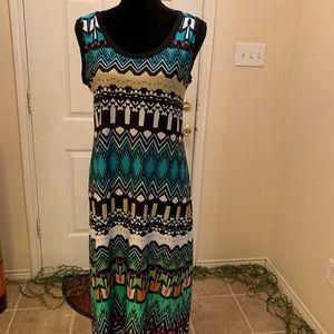 Multi-color sleeveless maxi dress